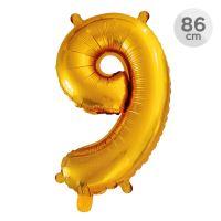 Balón narozeninový 86 cm - číslo 9, zlatý