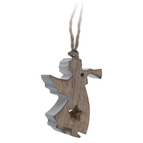Vánoční ozdoba - dřevěná, hnědo / bílý anděl 11 cm, 1ks