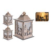 Lucerna dřevěný s LED svíčkou/efekt reálného plamene - dřevěný 22 cm, mix/1ks
