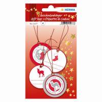Vánoční visačka na dárky - 3D červené / stříbrné