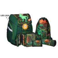 Školní aktovka - 5-dílný set, PRO LIGHT T-Rex, LED