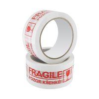 Lepicí páska nehlučná s potiskem Fragile / Křehké, 48 mm x 66 m