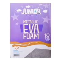 Dekorační pěna A4 EVA stříbrná metalická tloušťka 2,0 mm, sada 10 ks