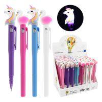 Pero gélové Unicorn/Flamingo svietiace 0.5 mm - modré