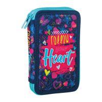 Penál 2-patrový / plněný Sazio, Follow Your Heart