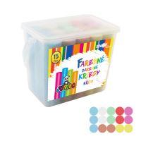 Kriedy farebné/chodníkové, okrúhle 15 ks - plastový box