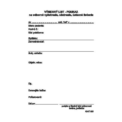 Výměnný list - poukaz A6, 100 listů (202)