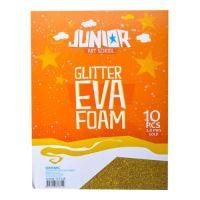 Dekorační pěna A4 EVA zlatá glitter tloušťka 2,0 mm, sada 10 ks
