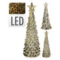 Stromek - svítící LED teplá bílá, 35 cm zlatý