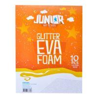 Dekorační pěna A4 EVA bílá glitter tloušťka 2,0 mm, sada 10 ks
