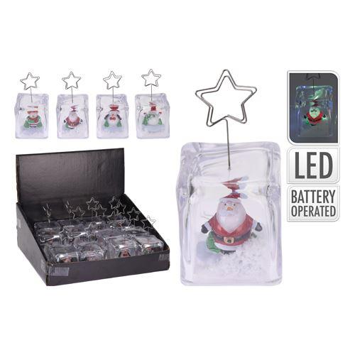 Dekorace - vánoční s figurkou na fotku, LED osvětlení, 12 cm, mix / 1ks