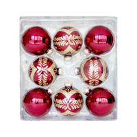 Vánoční koule - skleněné 67 mm / červeno zlaté, sada 8ks