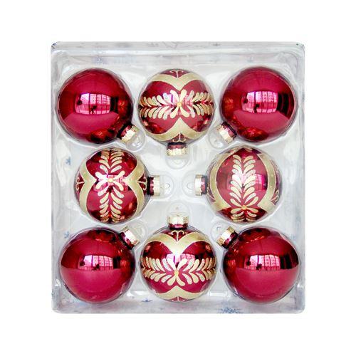 Vánoční koule - červeno / zlatá, 67 mm / sada 8 ks