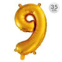 Balón narozeninový 35 cm - číslo 9, zlatý