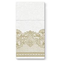 Kapsy na příbory PAW AIRLAID 40x40cm Royal Lace Gold, 25 ks/bal
