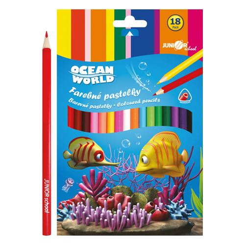 Pastelky Ocean World trojhrané 18ks