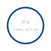 Gumičky modré slabé (1 mm, O 3 cm) [50 g]