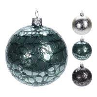 Vánoční koule - skleněná, různé druhy 80 mm, 1ks