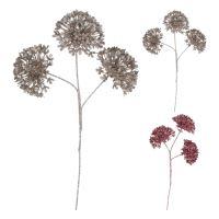 Dekorace - Květ na stonku 34 cm, růžový / hnědý, mix / 1ks