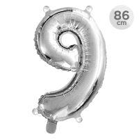Balón narozeninový 86 cm - číslo 9, stříbrný