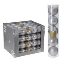 Vánoční koule - PP stříbrné 80 mm, set 5ks