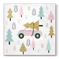 Ubrousky PAW L 33x33 cm Christmas Car Pink