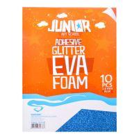 Dekorační pěna A4 EVA 10 ks modrá samolepicí glitter 2,0 mm