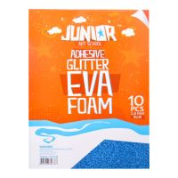 Dekorační pěna A4 EVA modrá samolepící glitter 2,0 mm, sada 10 ks