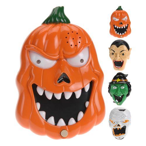 Dekorace Halloween - maska ??20x13 cm - svítící se zvukem - různé druhy, 1ks