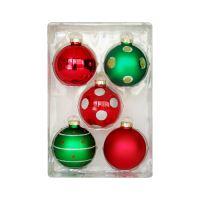 Vánoční koule - skleněné 67mm / červeno zelené, sada 5ks
