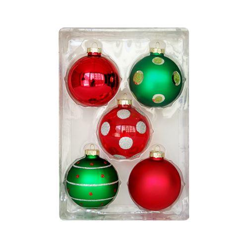 Vánoční koule - červeno / zelené, 67 mm / sada 5 ks