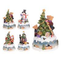Dekorace - vánoční motiv, LED osvětlení, 10,5x9x15,5 cm, mix / 1ks