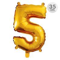 Balón narodeninový 35 cm - číslo 5, zlatý