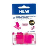 Blok lep MILAN FLUO záložka PVC 45 x 25 mm růžová