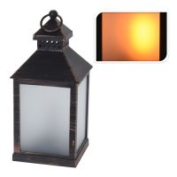 Lucerna s LED svíčkou/efekt plamene - černý 23 cm