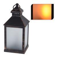 Lucerna s LED svíčkou / efekt reálného plamene / černý 23 cm, 1ks