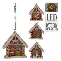 Domeček - svítící LED - teplá bílá 10 cm, mix / 1ks