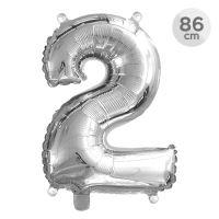 Balón narozeninový 86 cm - číslo 2, stříbrný