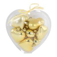 Vánoční ozdoby - PP srdce zlaté 60 mm, set 10ks