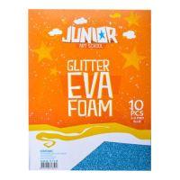 Dekorační pěna A4 EVA modrá glitter tloušťka 2,0 mm, sada 10 ks