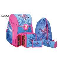 Školská taška - 5-dielny set, PRO LIGHT Butterfly, LED