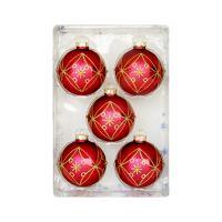 Vánoční koule - skleněné 67mm / červeno zlaté, sada 5ks