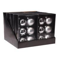 Vánoční koule - skleněné 65 mm / stříbrné, sada 6ks