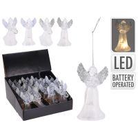 Anděl - svítící LED teplá bílá, 11 cm, mix / 1ks