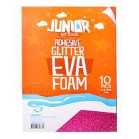 Dekorační pěna A4 EVA růžová samolepící glitter 2,0 mm, sada 10 ks