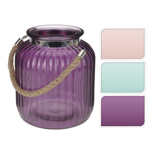 Svícen skleněný - mix barev 18x21 cm, 1ks