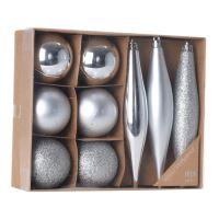 Vánoční ozdoby - PP stříbrné 4,5/14,5 cm, set 9ks