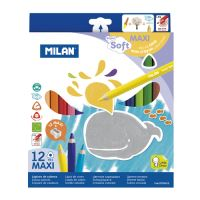 Voskové pastelky MILAN maxi trojhranné 12 ks + ořezávatko