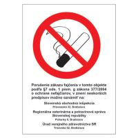 Etikety Info - Zákaz kouření (Zz 377/2004) 185x131 mm