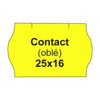 Etikety cen. CONTACT 25x16 oblé - 1125 etikiet/kotúčik, žlté